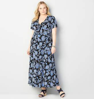 Avenue Blue Daisy Faux Wrap Maxi Dress