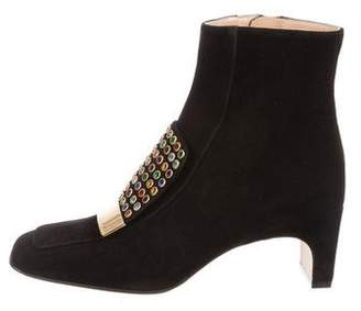 Sergio Rossi Embellished Square-Toe Ankle Boots w/ Tags