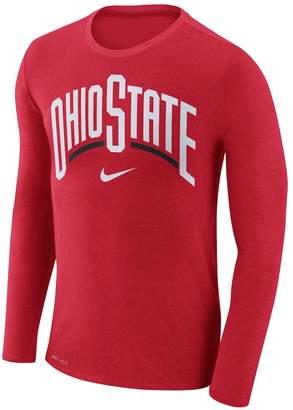 Nike Men's Ohio State Buckeyes Marled Long-Sleeve Dri-FIT Tee