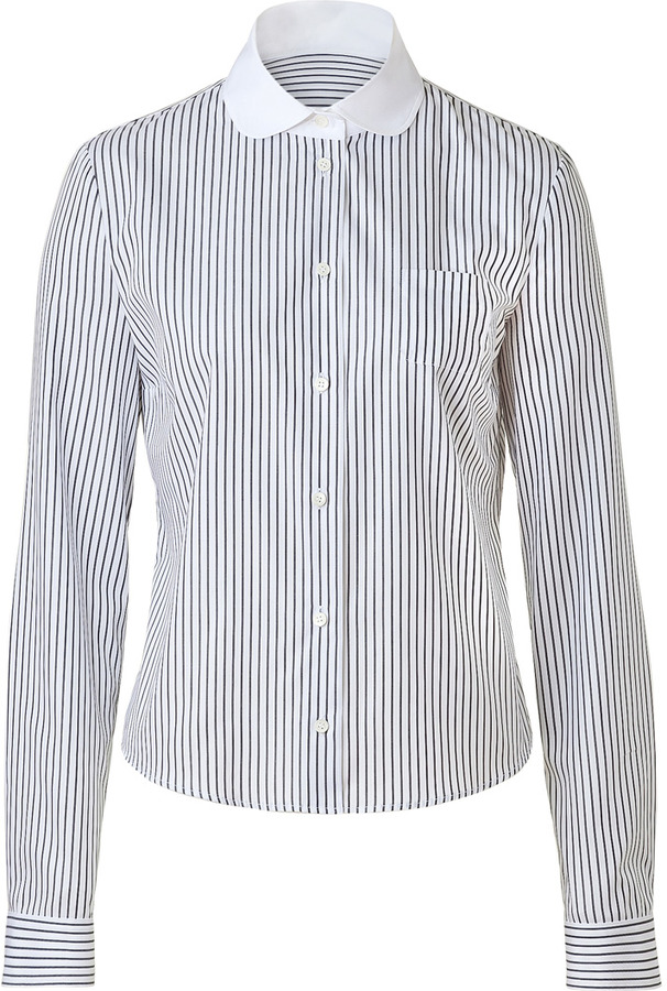 Jil Sander Navy White/Grey Peter Pan Collar Top