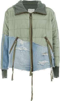 Greg Lauren patchwork zipped jacket