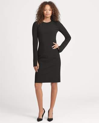 Ralph Lauren Stretch Wool Sleeve-Slit Dress