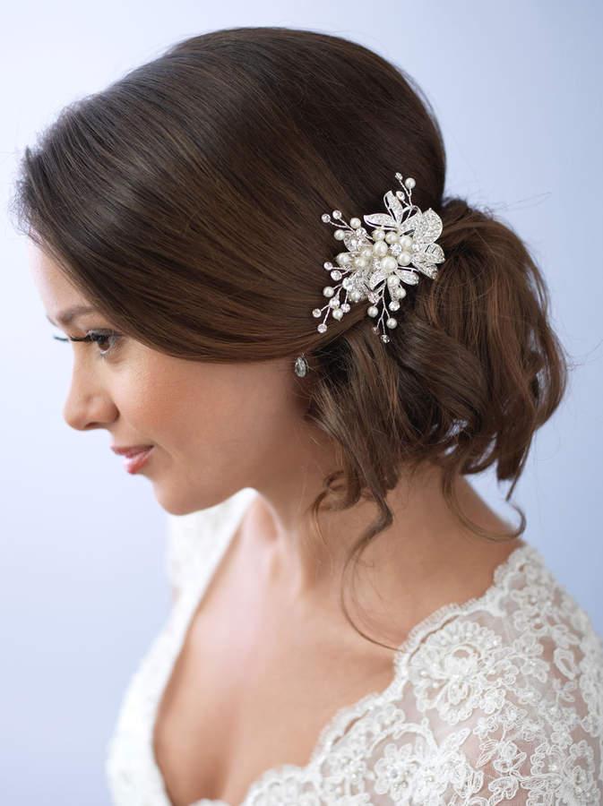 Etsy Pearl Hair Clip, Rhinestone Bridal Hair Clip, Floral Wedding Hair Clip, Bridal Hair Comb, Hair Clip