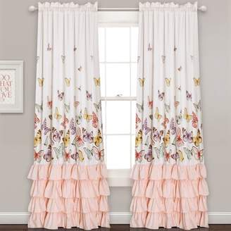 "Lush Decor Pink Flutter Butterfly Window Curtain Set (84""x52"") 2pc"