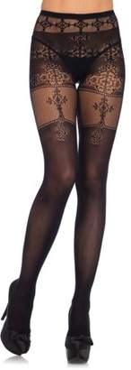 Leg Avenue Women's Spandex Opaque Thigh High Pantyhose Tights Filigree Detail, Black, O/S