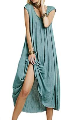 Zilcremo Women's Elegant Short Sleeve Solid Loose Bohemian Elegant Maxi Dress XL