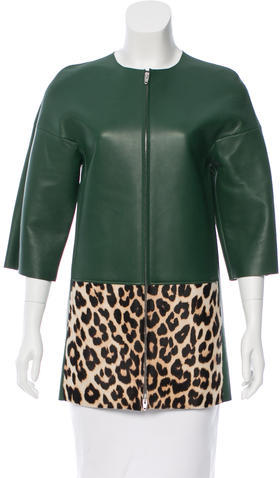 CelineCéline Leather & Ponyhair Coat