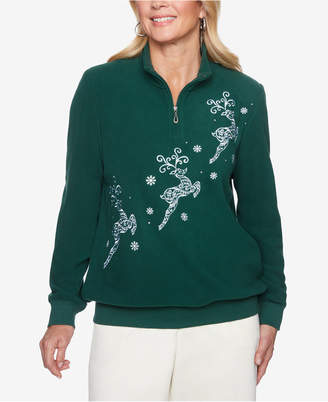 Alfred Dunner Petite Classics Reindeer-Applique Knit Top