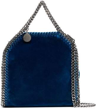 Stella McCartney blue falabella mini velvet shoulder bag