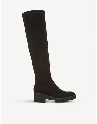 Dune Valero suede knee-high flatform boots