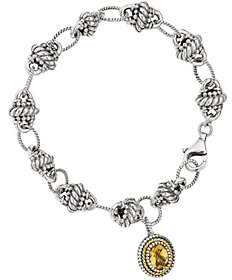 QVC Sterling & 14K Citrine Dangle Bracelet