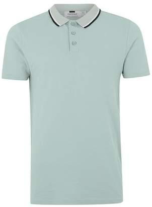 Topman Mens Light Green Short Sleeve Polo