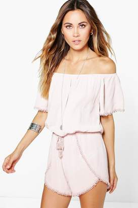 56f2c82395e60 boohoo Crochet Trim Off The Shoulder Playsuit