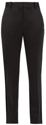 Bella Freud Rocker Tapered Wool Blend Tuxedo Trousers - Womens - Black