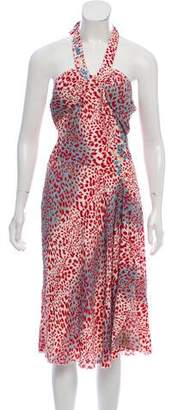 Blumarine Embroidered Leopard Midi Dress