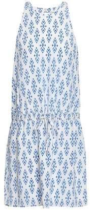 Joie Gathered Printed Silk Mini Dress
