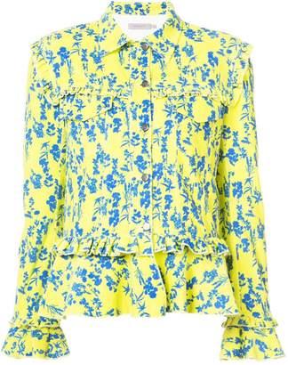 Preen Line floral print denim jacket with frill trim