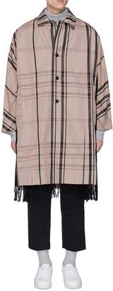 FFIXXED STUDIOS Fringe scarf panel tartan plaid twill coat
