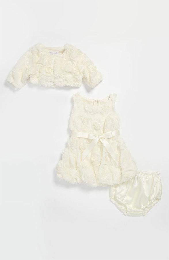 Bonnie Baby Iris & Ivy Rosette Dress & Faux Fur Bolero (Infant)
