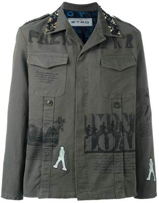 Etro printed military shirt jacket