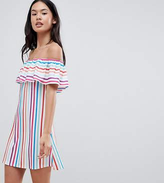 boohoo Bardot Rainbow Stripe Dress