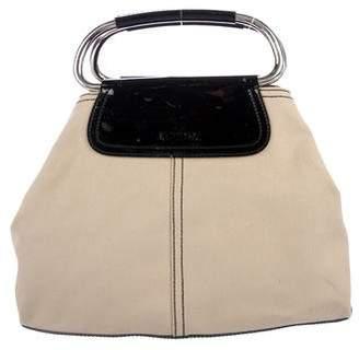 Prada Patent Leather-Trimmed Canvas Bag