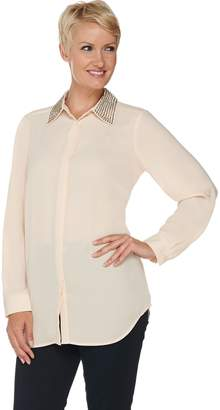 Joan Rivers Classics Collection Joan Rivers Silky Blouse with Embellished Collar