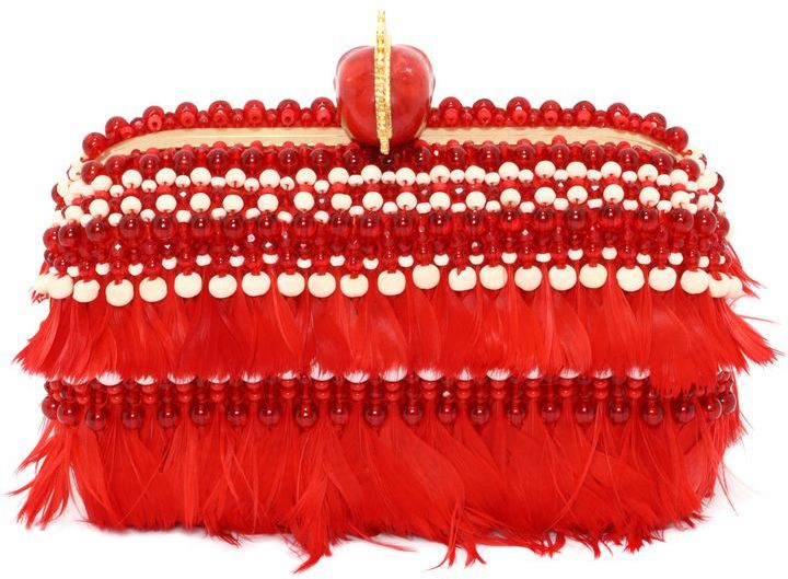 Alexander McQueen 3D Beaded Feathers Embroidered Skull Box Clutch
