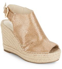 Odette Metallic Leather Espadrille Wedge Sandals $130 thestylecure.com