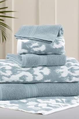 Amrapur Sterling Blue Ikat Damask Reversible Yarn-Dyed Jacquard 6-Piece Towel Set