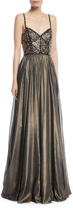 Jenny Packham Embellished-Bustier A-Line Evening Gown