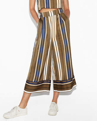 Express High Waisted Striped Wide Leg Cropped Pant