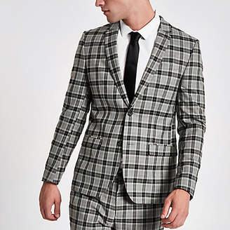 River Island Grey check skinny fit smart blazer