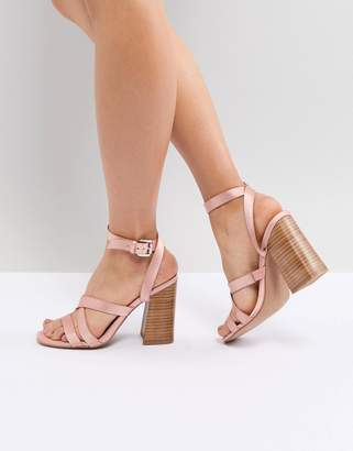 Asos DESIGN Tilbury Satin Block Heel Sandals