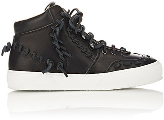Maison Margiela Women's Leather High-Top Sneakers-BLACK $895 thestylecure.com