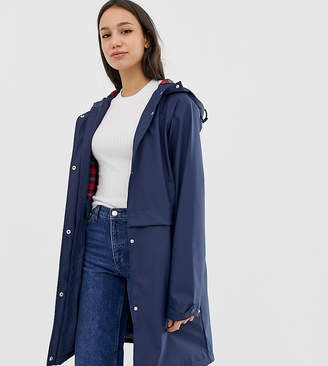 Asos Tall DESIGN Tall raincoat with brushed check lining
