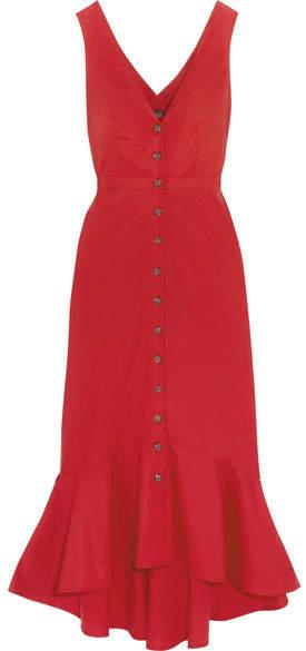 Saloni - Zoey Cutout Cotton-blend Poplin Midi Dress - Red