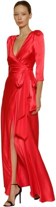 Maria Lucia Hohan GIZEH SILK SATIN LONG DRESS