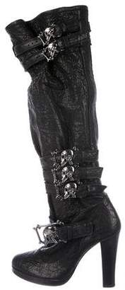 Thomas Wylde Skull-Embellished Leather Boots