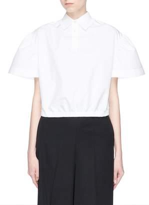 Shushu/Tong Puff sleeve cropped poplin polo shirt