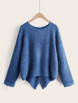 Shein Split Back High Low Hem Sweater