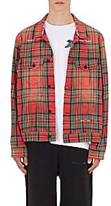 Off-White MEN'S CHECKED COTTON-BLEND SHIRT JACKET-RED SIZE M