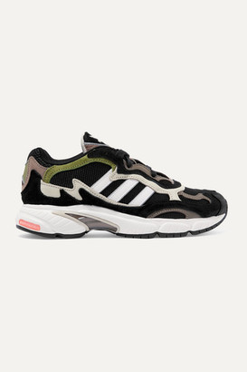 adidas Temper Run Mesh, Suede And Leather Sneakers - Army green