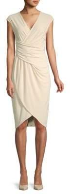 Donna Karan Ruched V-Neck Dress