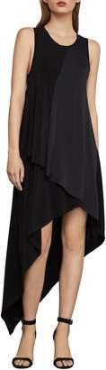 BCBGMAXAZRIA Asymmetrical Mixed-Media A-Line Dress