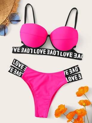 Shein Neon Pink Letter Tape Underwire Bikini Set