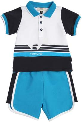 Armani Junior Light Cotton Polo Shirt & Sweat Shorts