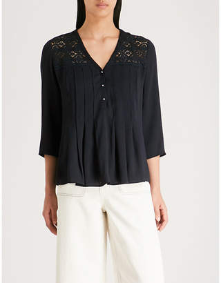 Claudie Pierlot Lace-embroidered crepe top