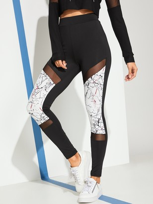 Shein Cut And Sew Mesh Panel Leggings