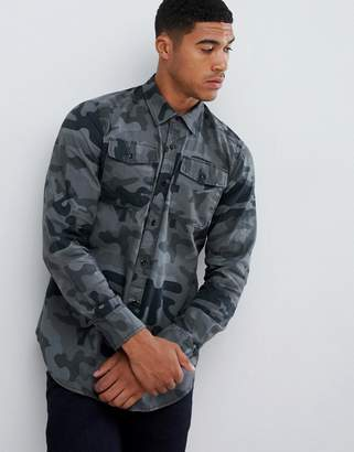 c108fd1e767 G Star G-Star Beraw camo denim shirt in black